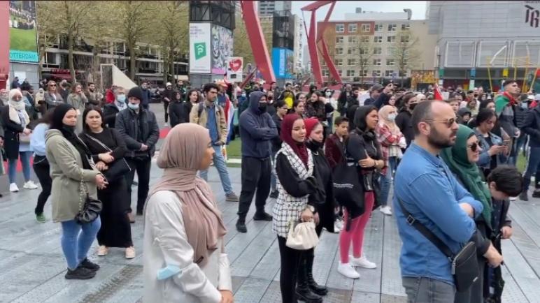 إقبال كبير على مظاهرة مؤيدة لفلسطين في مدينة روتردام الهولندية