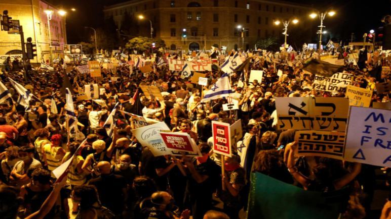 أكثر من عشرة ألاف متظاهر خرجوا في القدس مساء البارحة للمطالبة مجدداً باستقالة نتنياهو