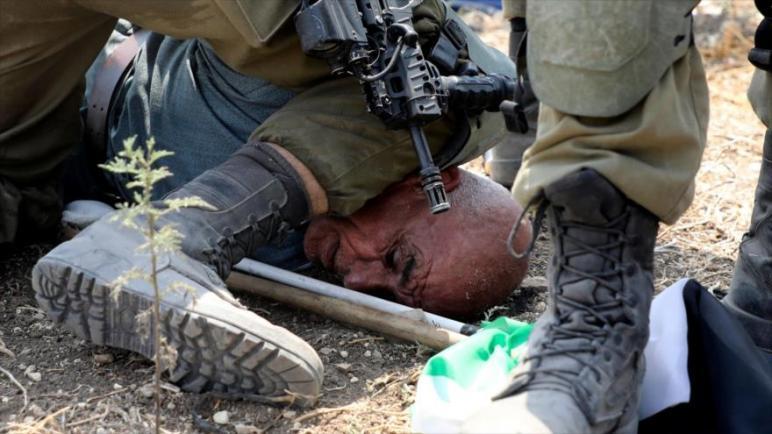 جندي إسرائيلي يضع ركبته على عنق مسن فلسطيني أثناء احتجاجات على ضم الأراضي في طول كرم