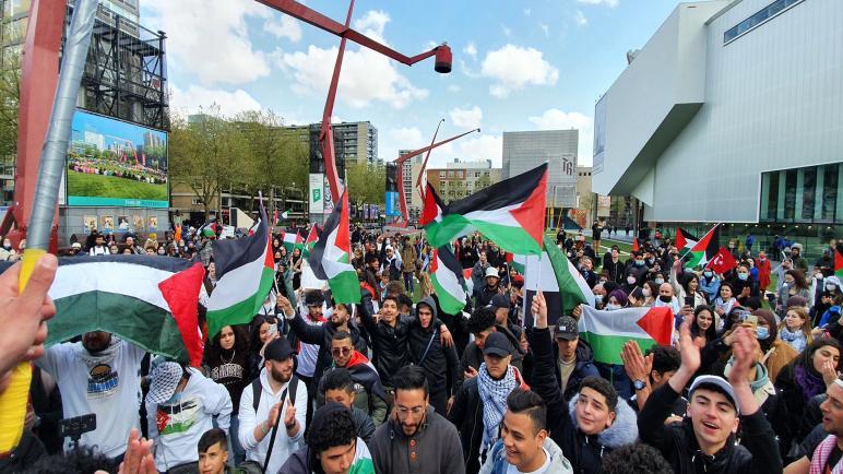 الجالية الفلسطينية ومؤسسات هولندية تنظم وقفة تضامنية في روتردام تثمن انتصار الشعب الفلسطيني على العدوان الإسرائيلي