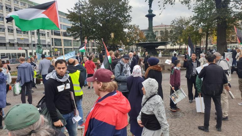 مركز العدالة الفلسطيني في السويد وجمعيات فلسطينية يقيمون وقفة رافضة لقرار الضم واتفاقيات التطبيع مع الاحتلال