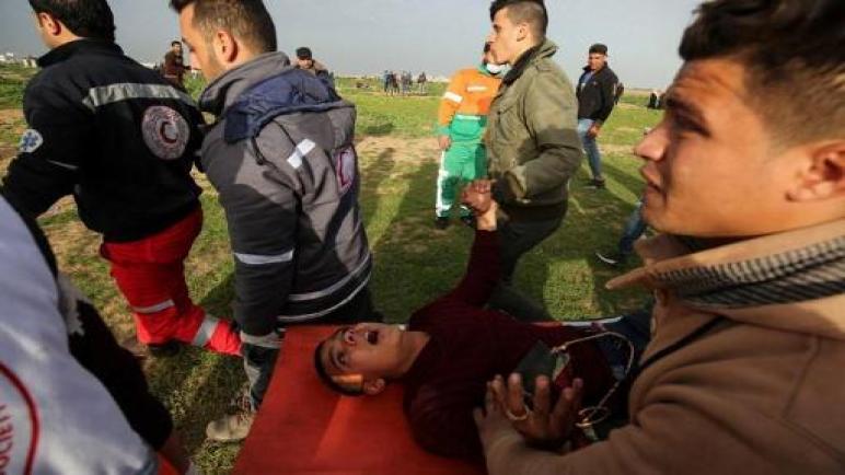 اصابة 32 فلسطيني بجروح في مسيرة العودة الكبرى رقم 45 في قطاع غزة