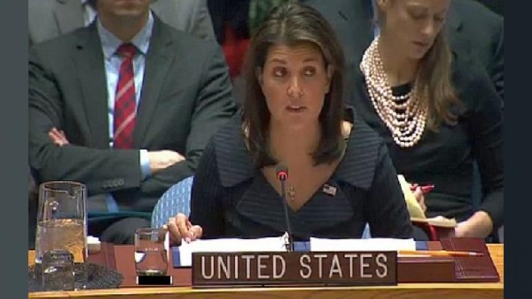 نيكي هالي: الأمم المتحدة لديها هوس بالتحيز ضد إسرائيل